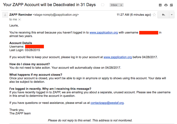 Example Disable Email