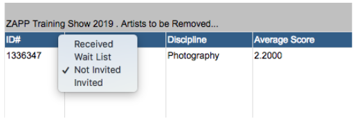 An image of the artists to be removed page showing the option to change their status