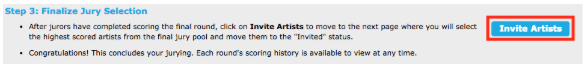 Image of the Invite Artist section on Jury Administration with Invite Artists button circled in red