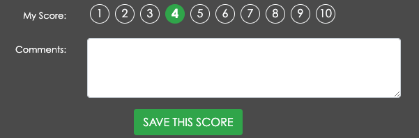 A close up of the scorecard. This image contains only the My Score section (where jurors can choose a score), the comment box, and the Save This Score button.