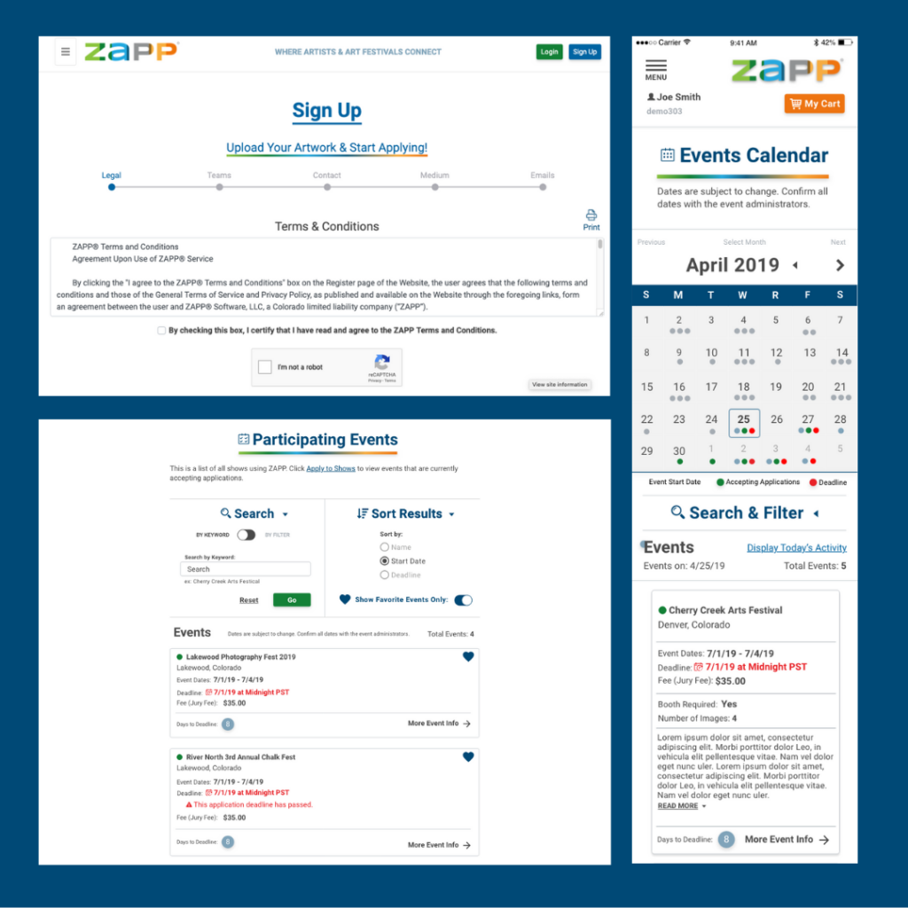 An image showing three pages of the redesigned ZAPP. These pages are the registration, participating events, and events calendar pages.