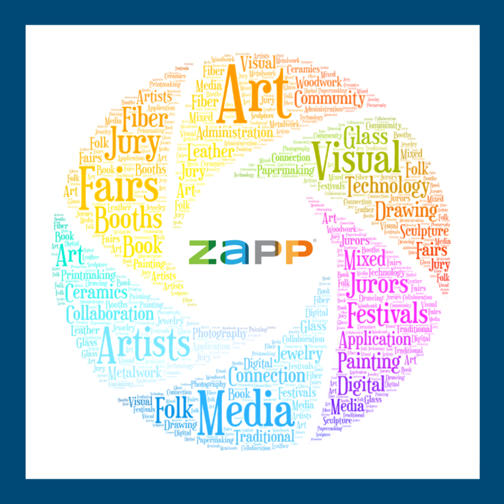 Image of a rainbow pinwheel graphic with various art related words within it. ZAPP's logo is in the center.