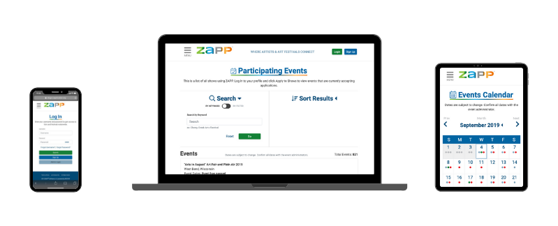 Image showing ZAPP Mobile on three devices: phone, computer, tablet. The phone is showing the log in page, the computer is showing the participating events page, and the tablet is showing the events calendar.