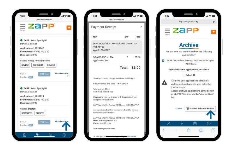 Three phones showing images of the My ZAPPlications page. The first is of individual applications, the second is of payment receipts, and the third is what it looks like to archive an application.