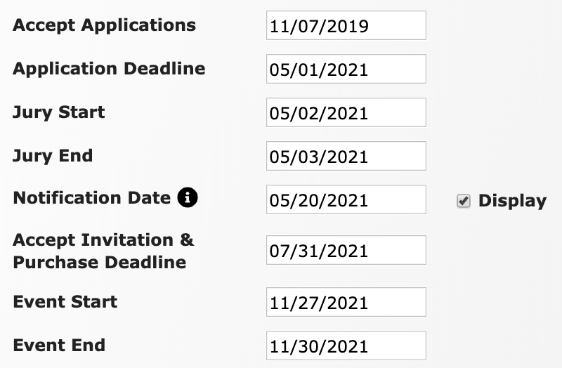"The list of dates found within the Event Information page. It shows a date filled in for the new field, Notification Date, with the checkbox next to the word ""Display"" checked."