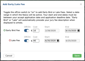 Image displays early/late fee modal. The two fees can be toggled on or off with a toggle and the dates they are active can be changed.