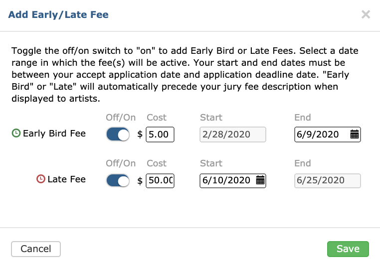 Displays Early Bird and Late Fee module. Both the early bird and late fee options are toggled on.