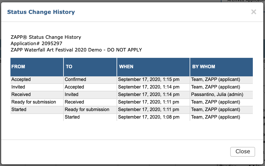 Image of the Status Change History Pop Up